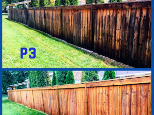 Fence cleaning and restoration by P3 Pressure Washing in Fairview, TN