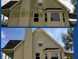Siding Before and After pressure washing by P3 in Fairview, TN