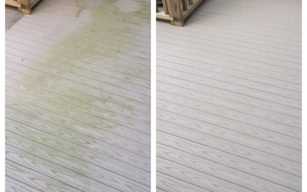 Composite deck before and after pressure washing by P3 Pressure Washing